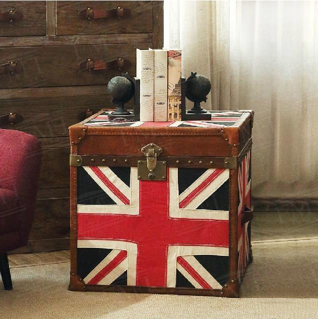 European /French Rustic Furniture/fabrics Union Jack Flag Console Table/vintage  Leather End Table /side Table /coffee Table