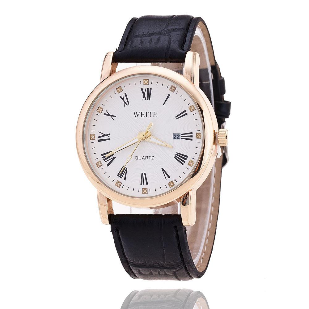 leather quartz s watch with band pp p shipping free weite men watches
