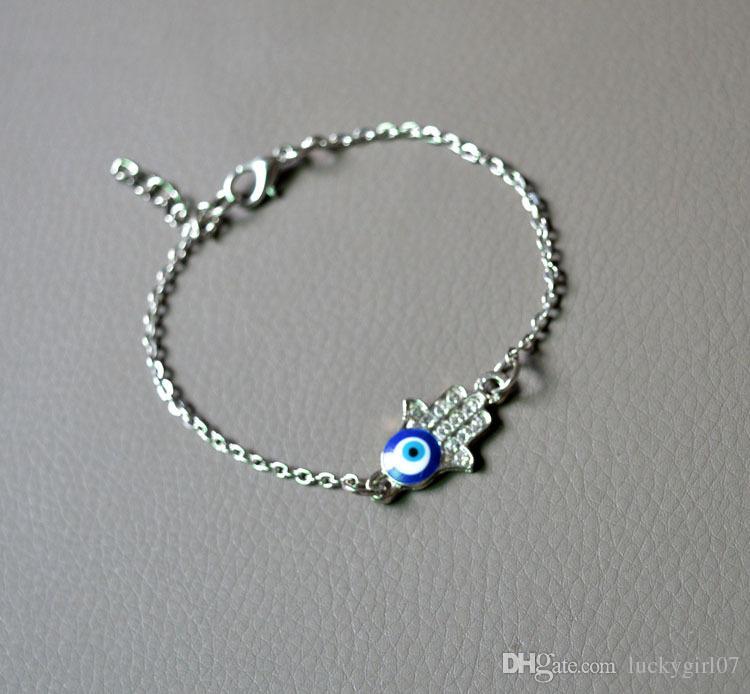 Faith Jewelry Retro Gold Silver Rhinestone Fatima Hamsa Hand Turkey Evil Blue Eye Charm Bracelet Wholesale