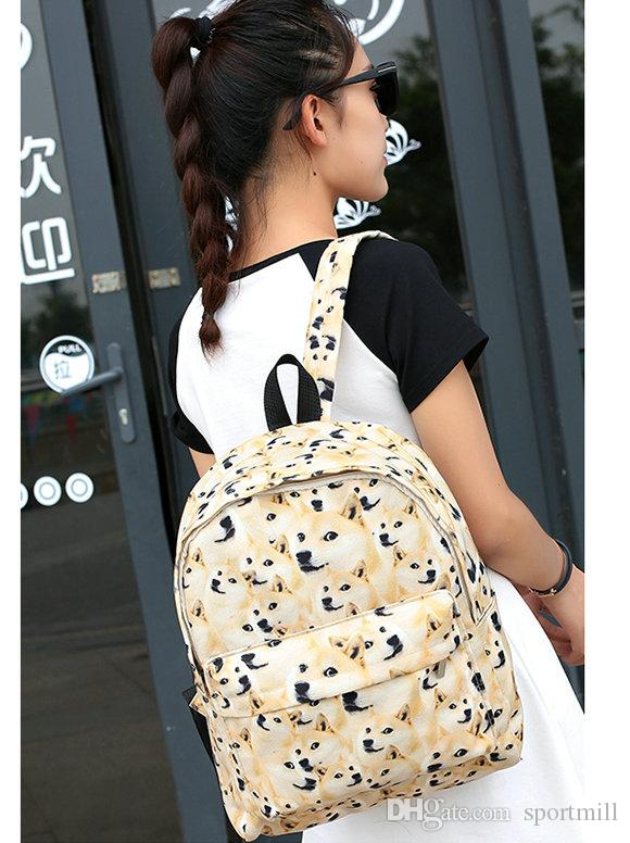 Shiba cins standart sırt çantası Doge karalama okul çantası Sevimli karikatür daypack Kaliteli schoolbag Açık sırt çantası Spor günü paketi