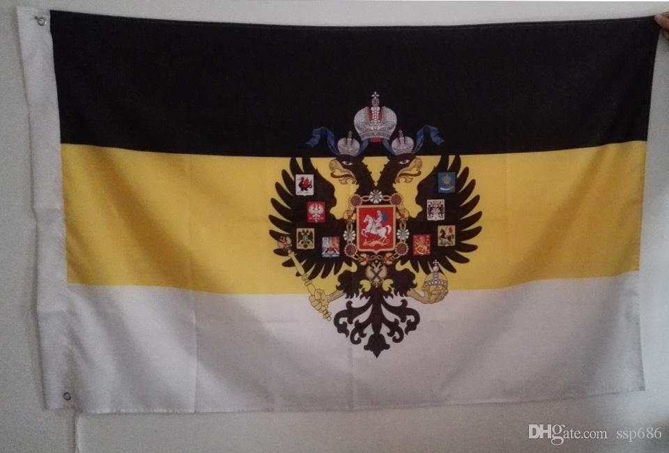 مزدوج النسر رؤساء الله الإمبراطورية الروسية العلم الساخن بيع السلع 3X5FT 90x150cm راية النحاس الثقوب المعدنية