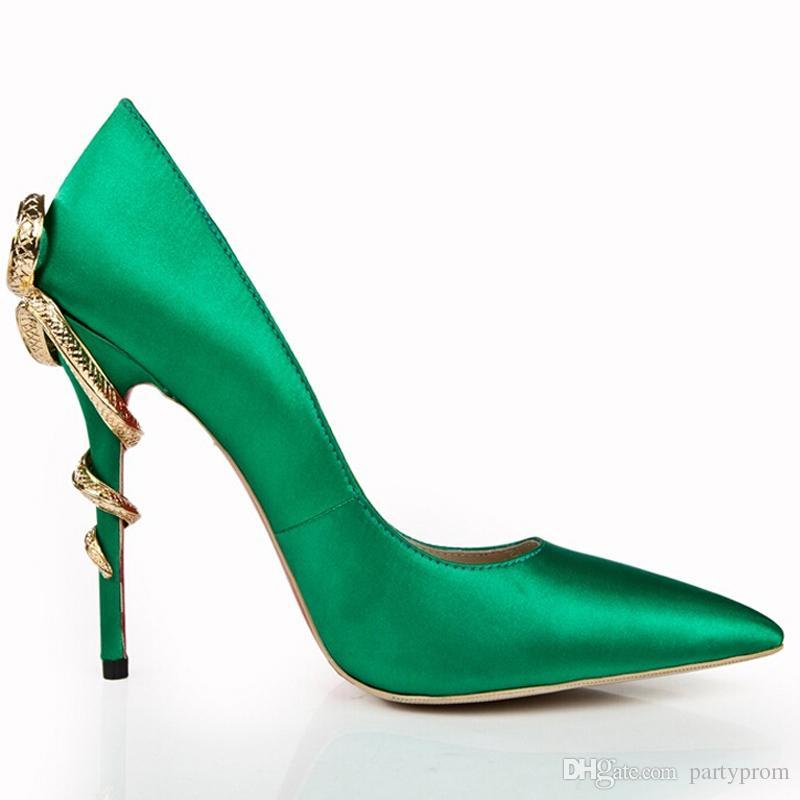 Verde del dedo del pie acentuado Bombas de satén 120 mm de tacón alto de baile de boda zapatos de fiesta Zapatos de vestir de noche Tacones Cobra moda