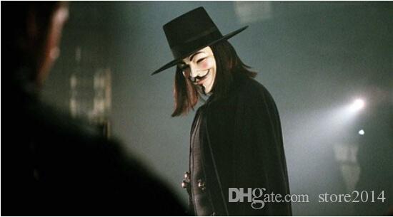 V Maschera di Halloween Maschera Mascherata Maschere Vendetta Anonimo Valentine Ball Party Full Face Super spaventoso Guy Fawkes
