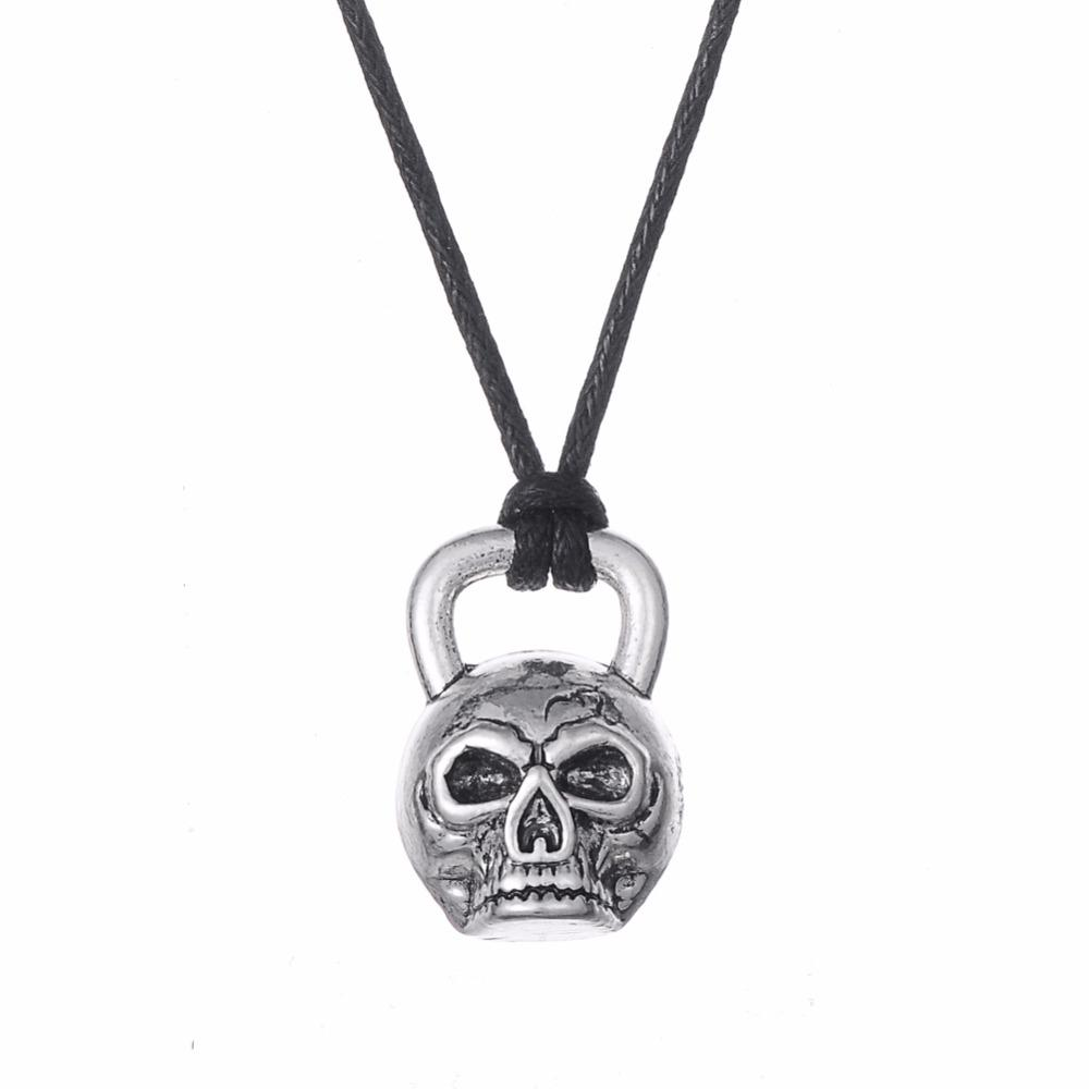 Wholesale- Skyrim Vintage Kettlebell Shaped Skull Skeleton Antique Silver  Plated Necklace Men Jewelry steampunk necklace
