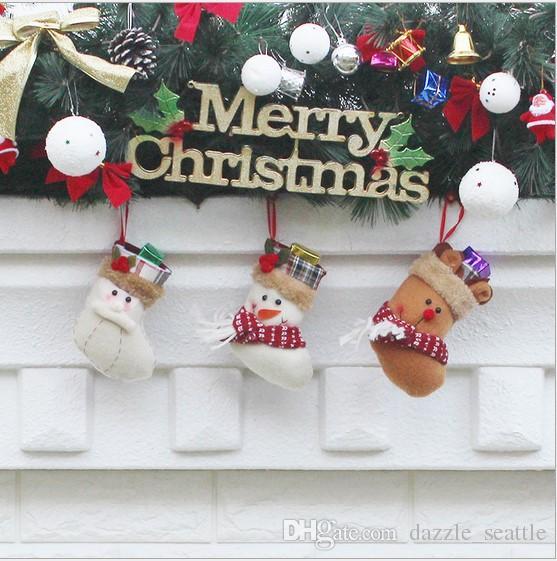 merry christmas stocking bag ornaments socks sacks candy bags cartoon stockings christmas tree decor santa claus snowman elk xmas stockings country - Country Christmas Stockings