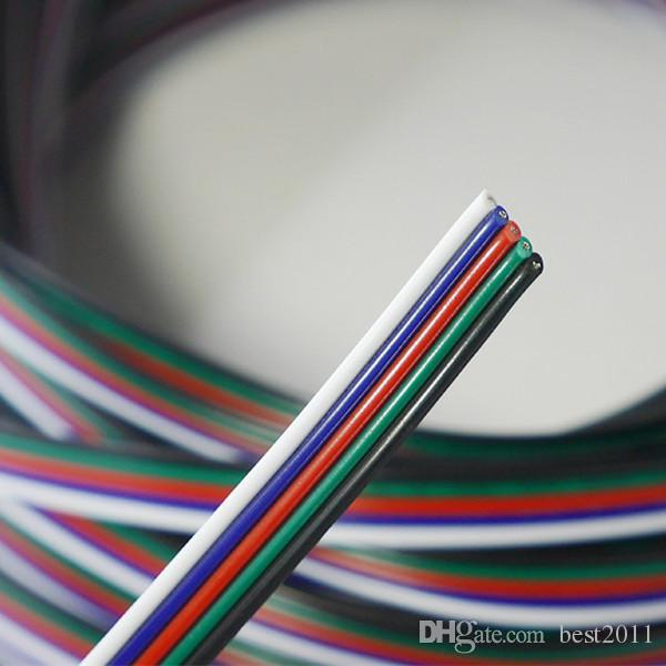 5Pin Extension Electric Wire Cable Blue/White/Red/Green/Black Led Connector For RGBW 5050 3528 LED Stirp Light 22 AWG