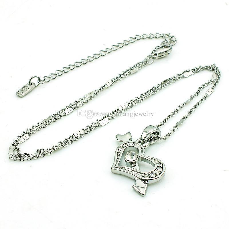 Amante de la moda colgante collar blanco Rhinestone plateado collar de corazón para las mujeres regalos de San Valentín romántica joyería
