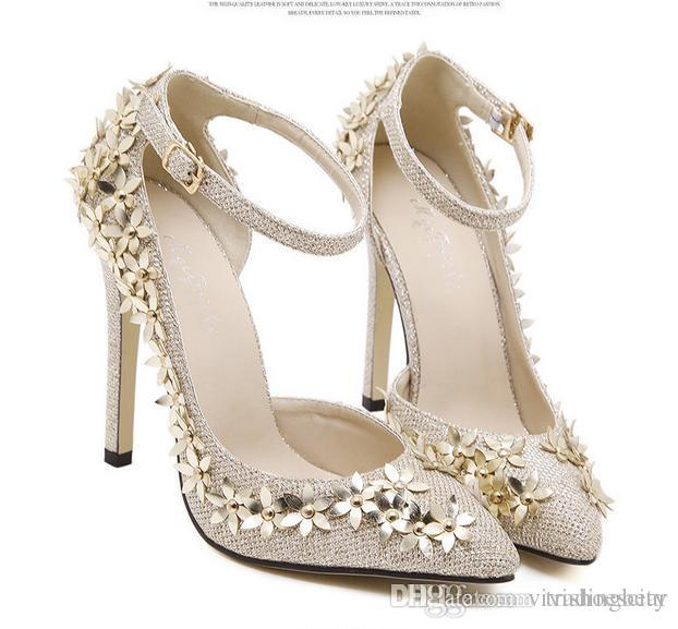 Sweet Small Flower Gold Beige Wedding Shoes Ankle Strappy Pumps ...