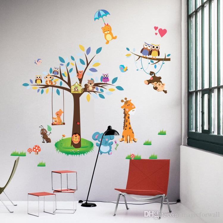 New Arrival Animal Paradise Zoo Wall Sticker Giraffe Monkey Forest Tree Wall Decal Decor for Living Room Baby Kids Nursery Children Room