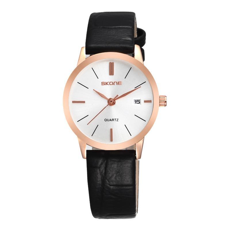 SKONE Mens Brand Lovers Watch Women Leather Strap Dress Wristwatches Japan  Quartz Watches Birthday Wedding Anniversary Gifts