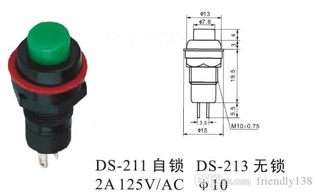 Новые миниатюрные кнопочные переключатели 10 мм 2A 125VAC нет самоблокирующихся или самостоятельной сброса два цвета, чтобы выбрать гарантированное качество