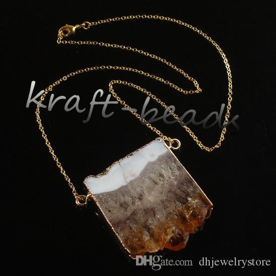 Wholesale Fashion Natural Gold/Silver Plated Yellow Quartz Drusy Crystal Random Shape Healing Point Pendant Necklace Jewelry