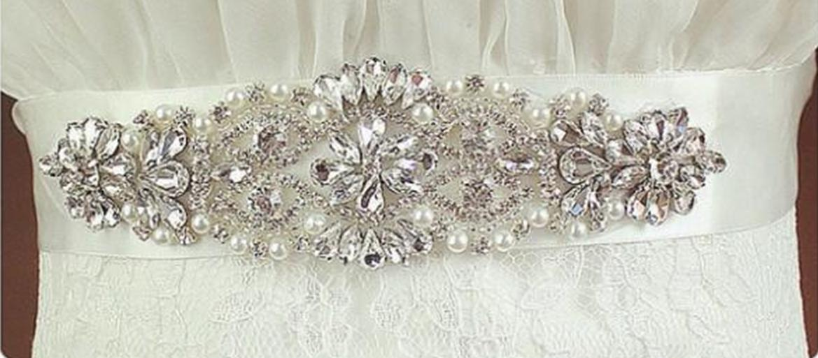 2017 Nouvelle Mariée Sashes Cristal Perles 100% Image Réelle Blanc Noir Vert Rose En Stock Ceintures De Mariée Pour la Soirée De Mariage Livraison Gratuite