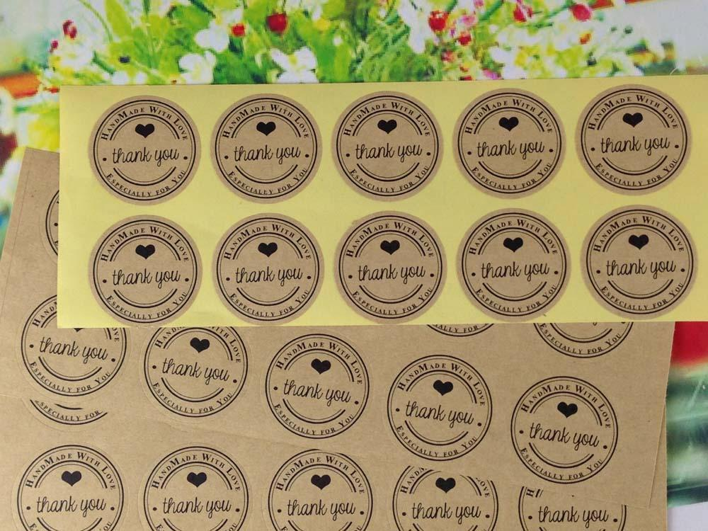 Online cheap 3 5cm round kraft sticker labels thank you kraft sticker labels sealing adhesive labels custom logo cost extra by lifehello dhgate com