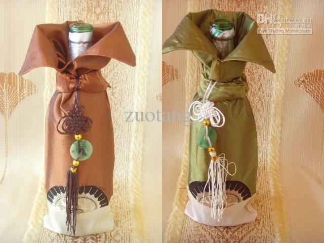 China knot Unique Wine Bottle Covers Bags Satin Fabric Table Decoration Bottle Packaging mix color