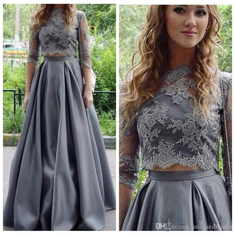 2018 Fashion Grey Two Piece Prom Dress Jewel Lace Satin 3/4 Long Sleeve 2 Pieces Party Evening Dresses Formal Gown Homecoming Wear