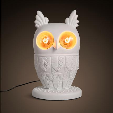 2018 creative owl table lamps simple resin animal owl bedside lamp see larger image mozeypictures Choice Image