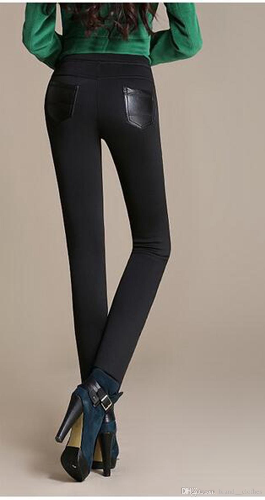 양 한판 본격적인 레저 패션과 머리카락 짙어지면서 따뜻한 겨울 새로운 꽉 가죽 바지 얇은 바느질 피트 연필을 보여줍니다. S - 3xl
