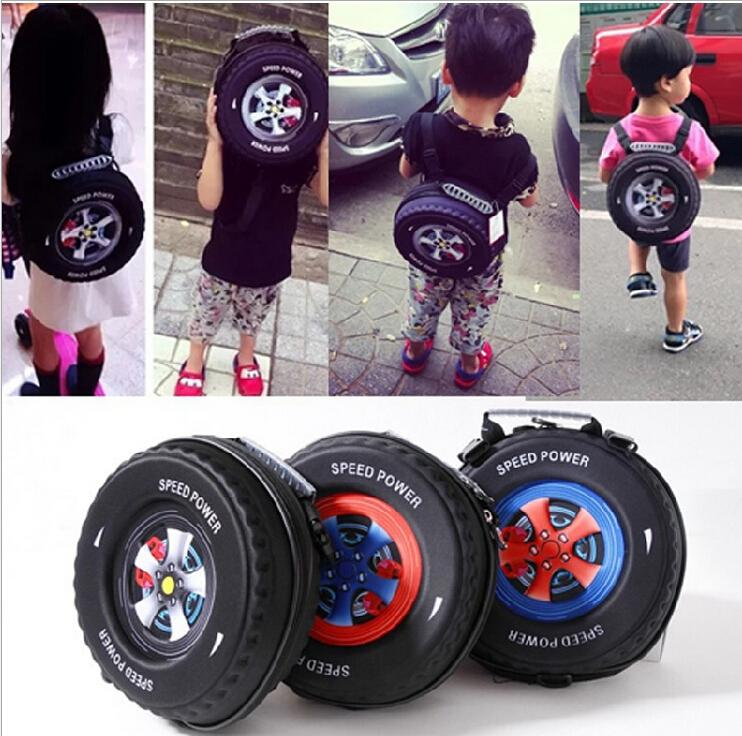 Kids Backpack Fashion Baby Cool Tire Package Bag Cartoon PU Bag ...