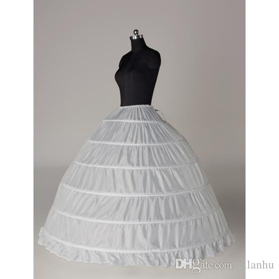 2018 In stock Ball Gown Petticoat Cheap White Black Crinoline Underskirt Wedding Dress Slip 6 Hoop Skirt Crinoline For Quinceanera Dress