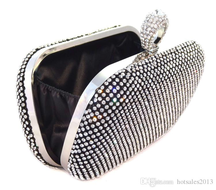 Rhienstone Bridal Clutch Bag, Gold Crystal Wedding Handbag, Lady fashion Silver Minaudiere Evening Party Prom Purse