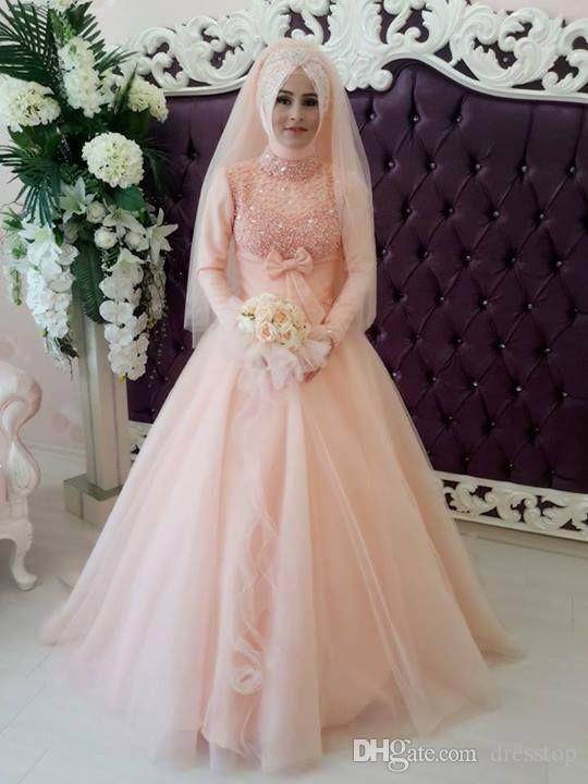Discount 2015 Unique Muslim Wedding Dresses Arabic Style Light