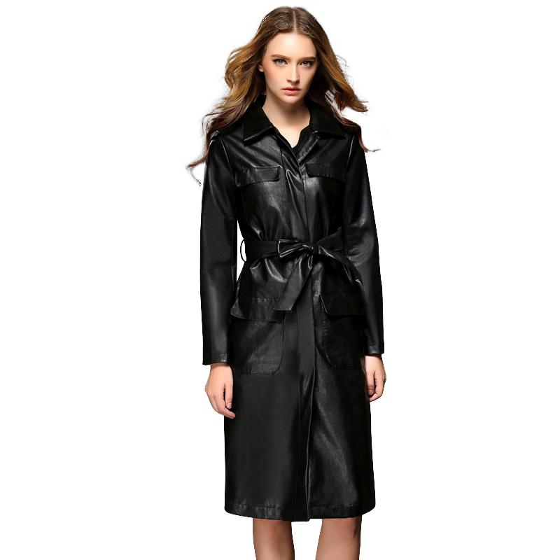 Fashion Ladies Slim Fit Long Leather Trench Coats Single Breasted ...