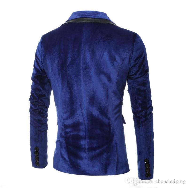 Neue frühling winter herrenjacke slim fit formale pu nähte blazer langarm business dress anzug mantel