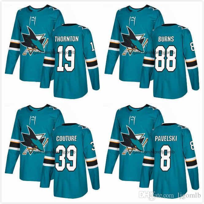 hot sale online c89a2 17aff Joe Thornton Jersey 19 Brent Burns Jersey 88 Joe Pavelski 8 Logan Couture  39 Mens Ice Hockey Jerseys 2018AD San Jose Sharks S-3XL
