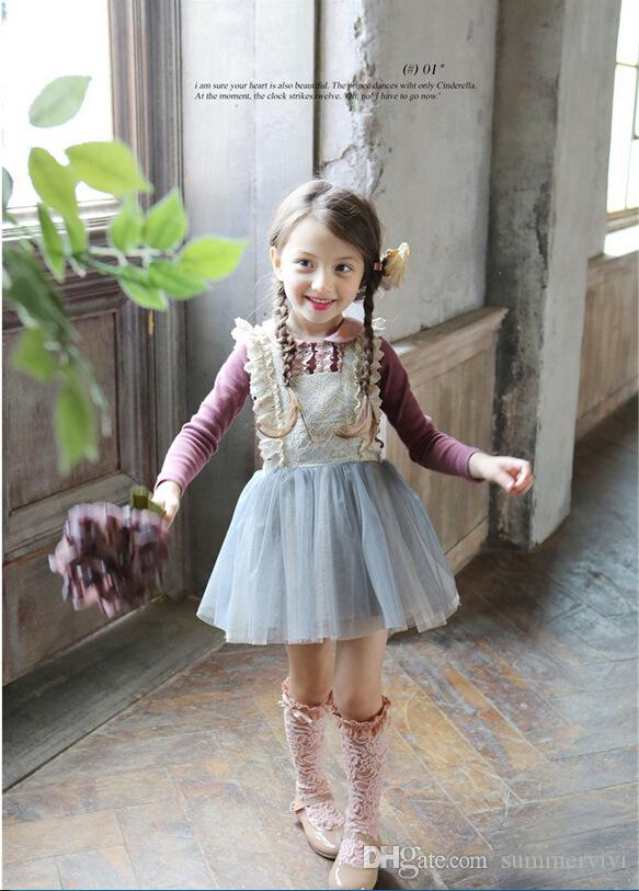 2019 girls lace bows suspender dresses spring new brand