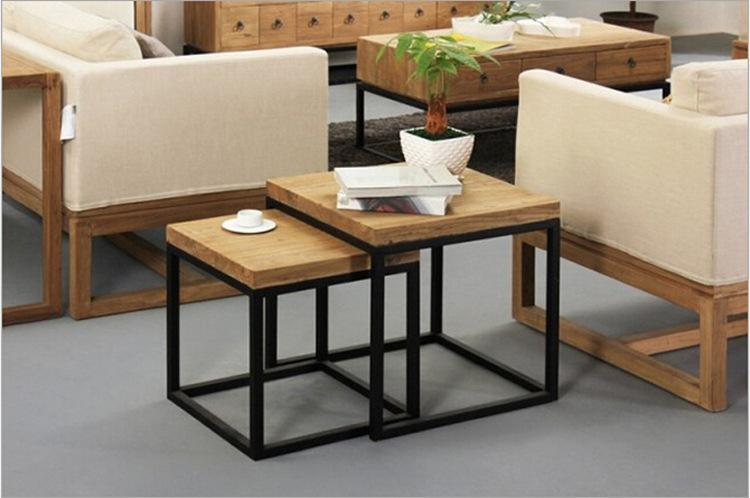 American country wrought iron coffee table wood coffee table factory direct  fashion small apartment Coffee Tables