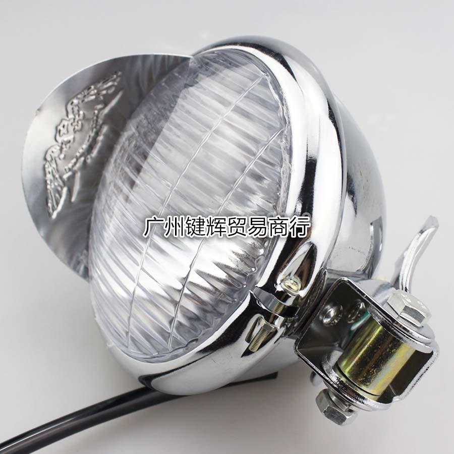 2019 Vintage Motorcycle Headlight Headlamp Retro Black Metal