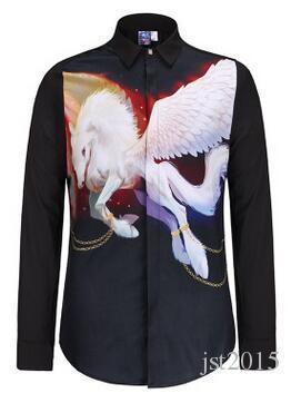 도매 핫 새로운 3D 인쇄 남자 골드 셔츠 인쇄 동물 독수리 패션 긴 소매 셔츠 Camisa Masculina 사회 복장 셔츠