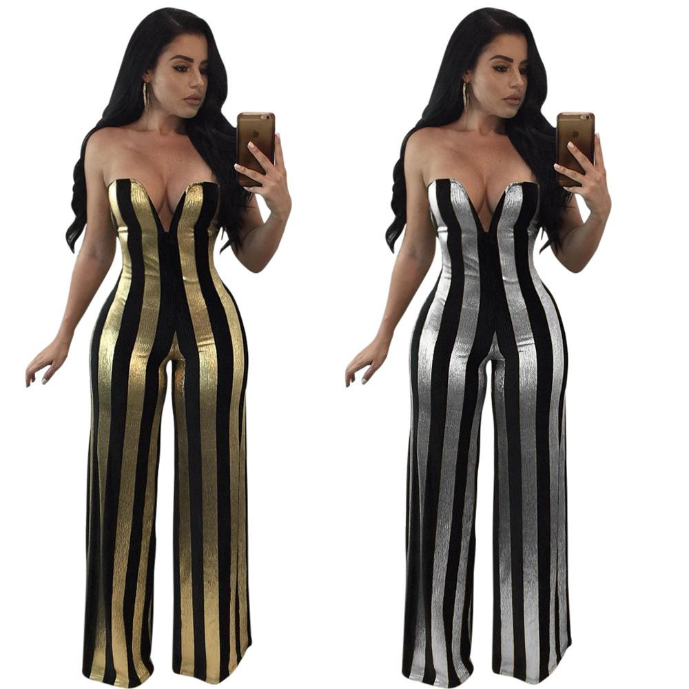 898684a1616c 2019 New Women S Black Striped Strapless Jumpsuits Gold Silver Deep V Neck  Wide Leg Pant Club Party Cocktail Long Print Jumpsuit From Hengytrade