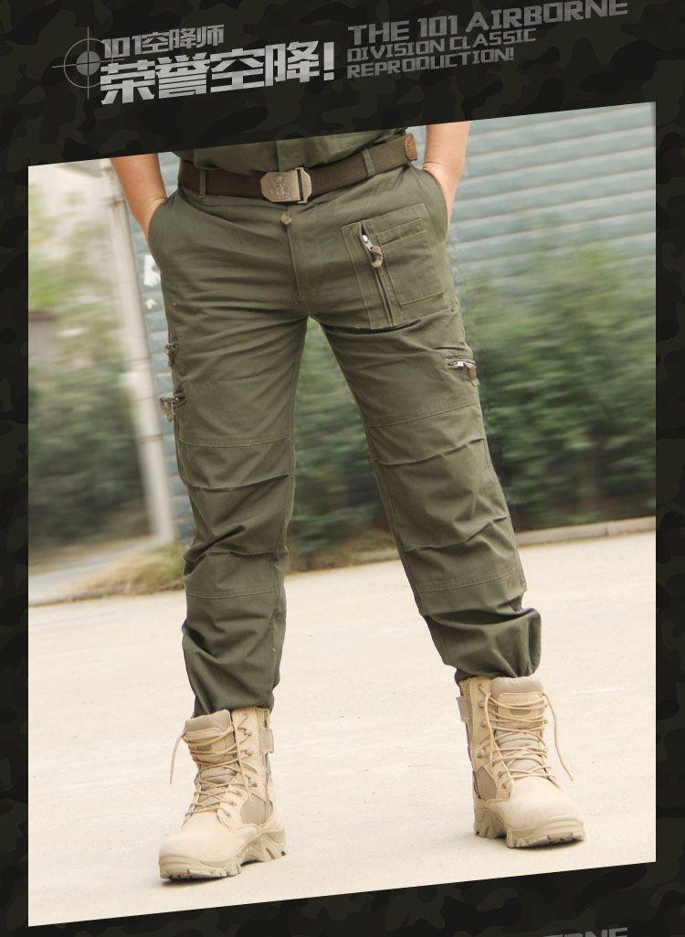 Pantalones vaqueros ocasionales 101 Airborne Training Plus Tamaño de algodón Multi bolsillo del ejército militar camuflaje transpirable de Carga para los hombres