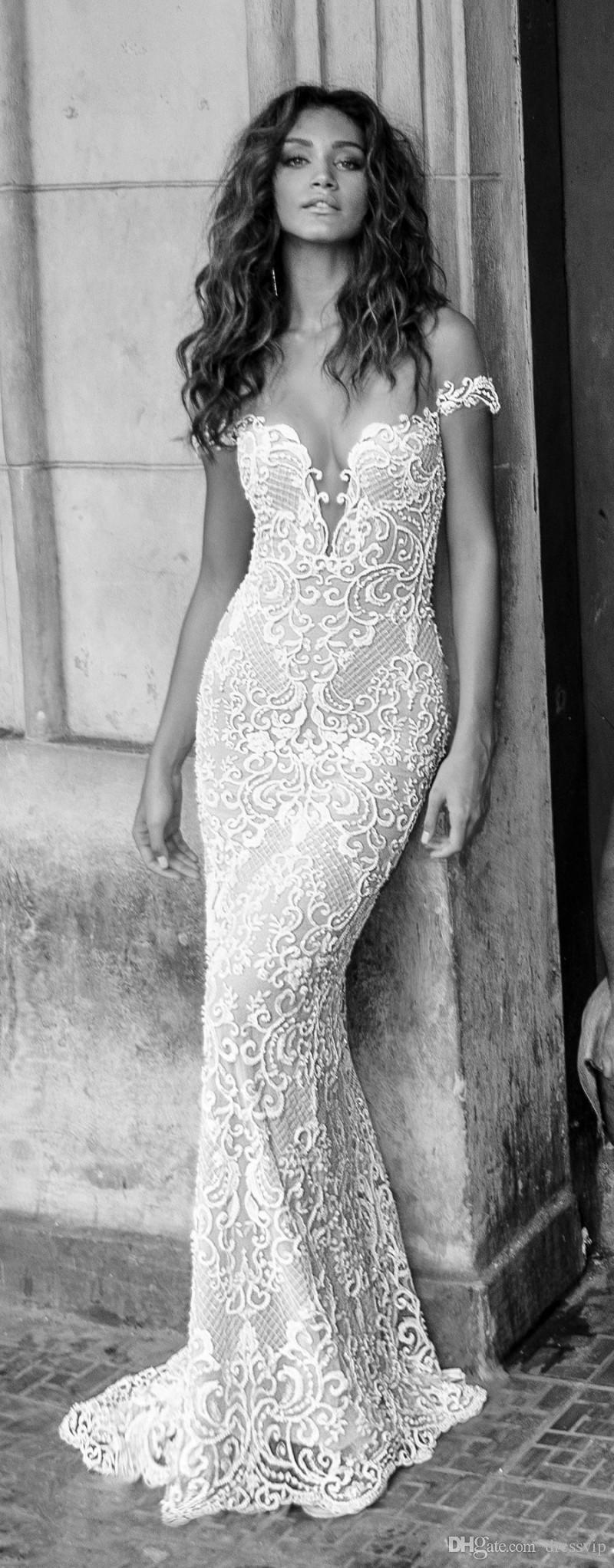 Julie Vino Mermaid Brautkleider Abnehmbare Zug aus Schulter Sweep Zug Backless Spitze Brautkleid Applique Perlen Günstige Brautkleid