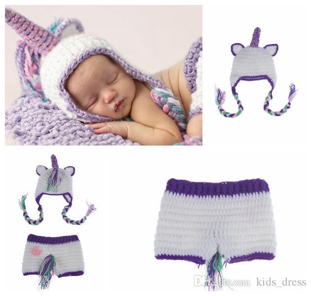 Accesorios de fotografía de bebé Ganchillo de punto Baby Unicorn Outfits  Conjuntos de bebé recién nacido Fotografía Prop sombreros de ganchillo ...