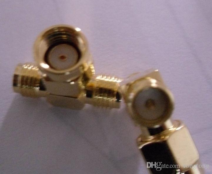 Ücretsiz kargo RP-SMA erkek iki RP-SMA dişi üçlü T RF adaptör konnektörü 3 yollu üçlü SMA