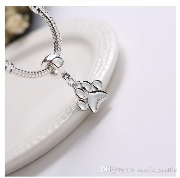Wholesale Cute Dog Paw Print Pendant Charm Sterling Silver European Charms Bead Fit Pandora Bracelets Snake Chain Fashion DIY Jewelry