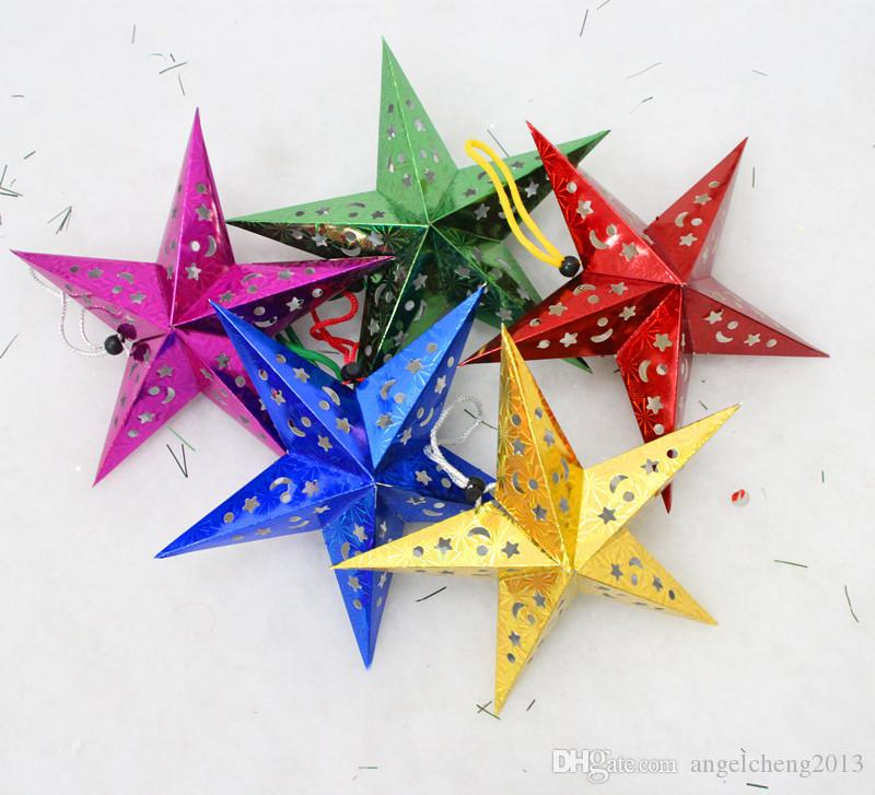 Three-dimensional laser pentacle star lampshade shade bar ceiling decoration ornaments Christmas decoration gift set of 60