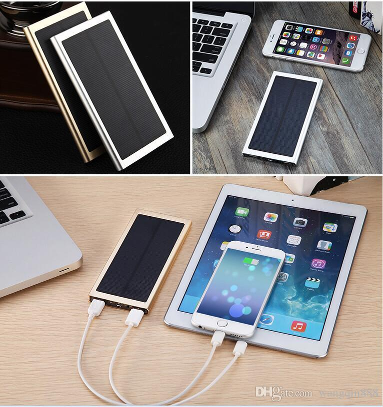 NEW Brand 10000mAh Portable solar power bank Ultra-thin Powerbank backup Power Supply battery Power charger For Smart Phones