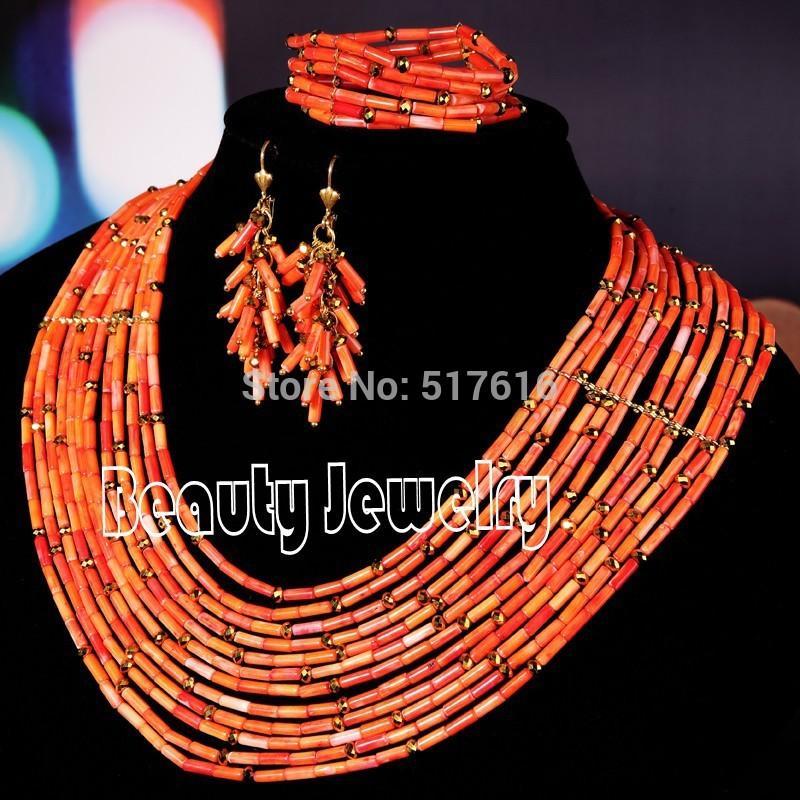 2018 18k New Design African Jewelry Set Nigerian Wedding Red Coral ...