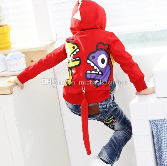 Nouveau Printemps et Automne Enfants Hoodies de Bande Dessinée Pour Garçons / Filles Dinosaur Sweatshirts Pour Bébé Hoodie Enfants Vestes Manteaux C001