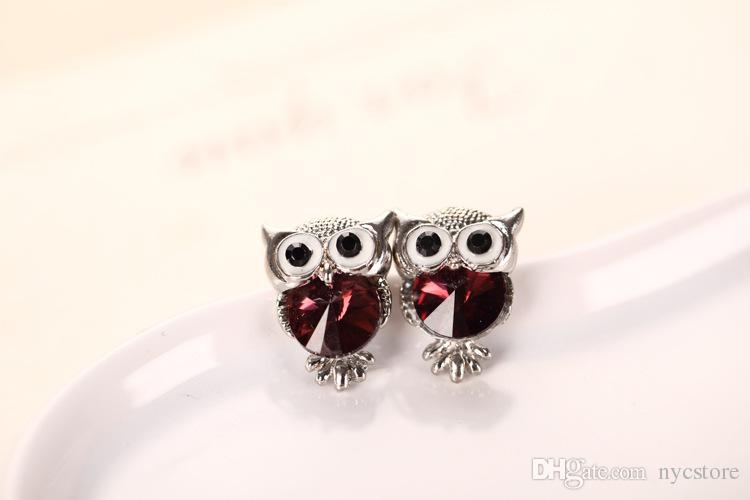 Cute Austrian Crystal Owl Earrings Women Gold Silver Plated Stud Earings Girls Christmas Jewelry Gift Mix Colors