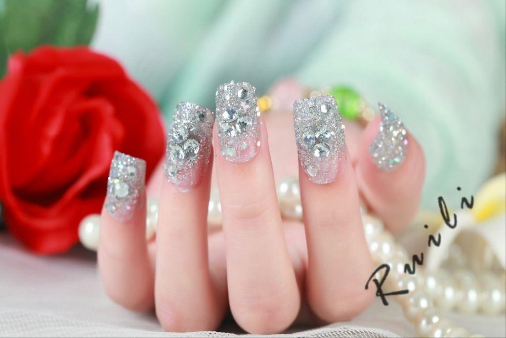 Wholesale 2015 New Arrival Diamond Fake Nails Full Acrylic Nail Tips ...