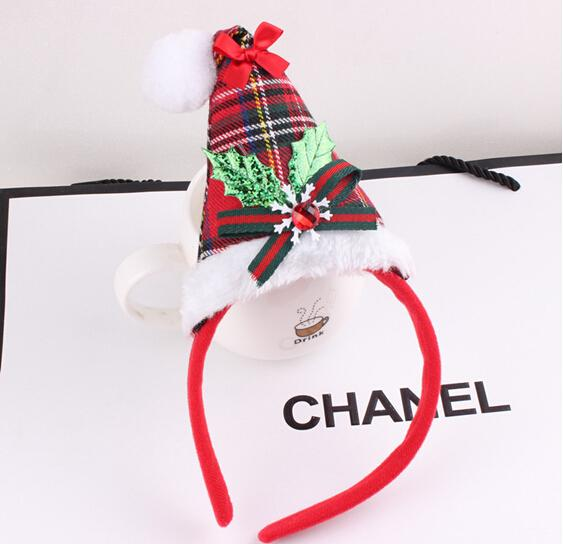 15% off sale outlets Lattice bowknot Christmas hat head hoop girls headwear xmas gift children hair accessories gift drop shipping