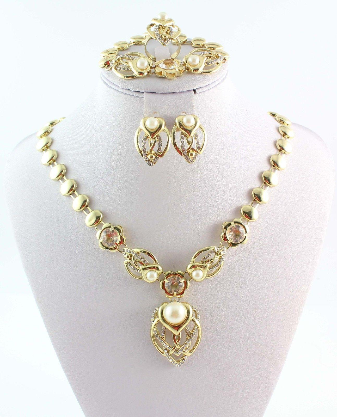 New Fashion African Costume Jewelry Set Wedding Gold Plated Clear Crystal Pearl Necklace