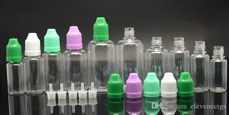 PET PE Aguja botella 5ml 10ml 15ml 20ml 30ml Ego Botella de gotero de plástico E-cigarrillo Vacío E Botella de líquido