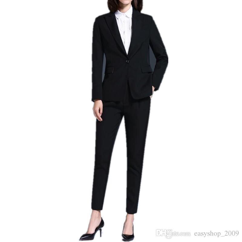 Women suit formal OL suits business casual western style custom suit two-piece pure color long sleeve ladies suit