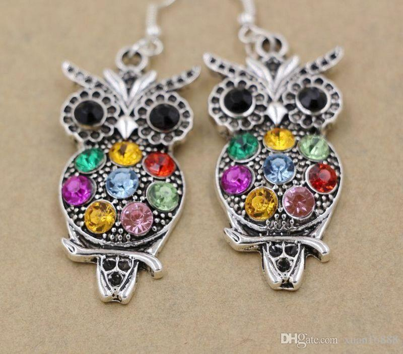 Серьги, 10 пар Ювелирные Изделия Красочные Милая Сова Кристалл 925 серебряные Серьги Рыболовные Крючки